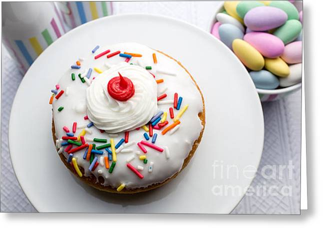 Bun Photographs Greeting Cards - Birthday party donut Greeting Card by Edward Fielding