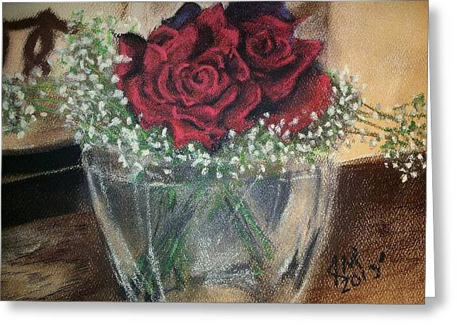 Feelings Pastels Greeting Cards - Birthday Roses of Love Greeting Card by John Martinez