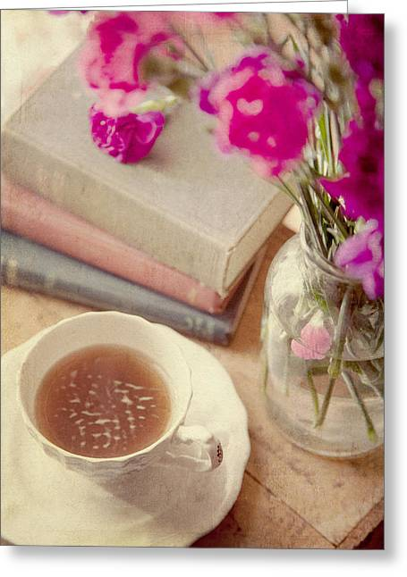 Quiet Read Greeting Cards - Birthday tea time Greeting Card by Toni Hopper