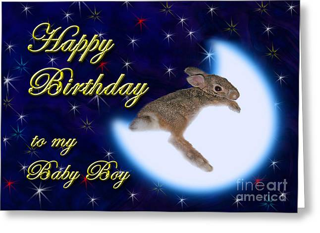 Wildlife Celebration Greeting Cards - Birthday to my Baby Boy Bunny Rabbit Greeting Card by Jeanette K