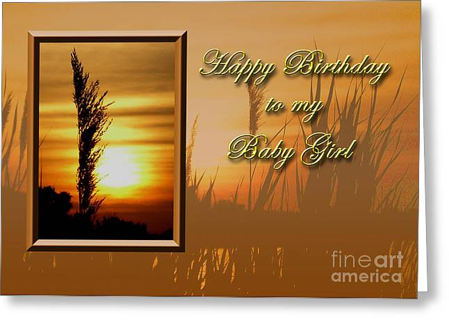 Wildlife Celebration Greeting Cards - Birthday to my Baby Girl Sunset Greeting Card by Jeanette K