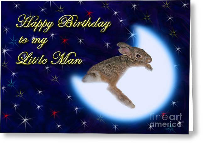 Wildlife Celebration Greeting Cards - Birthday to my Little Man Bunny Rabbit Greeting Card by Jeanette K