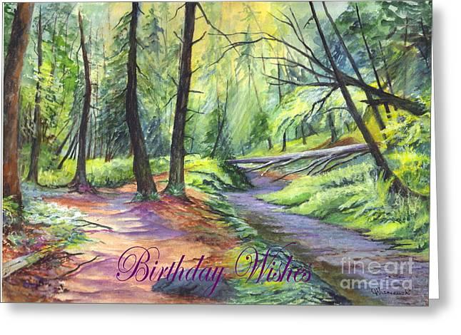 Birthday Wishes-a Woodland Path Greeting Card by Carol Wisniewski