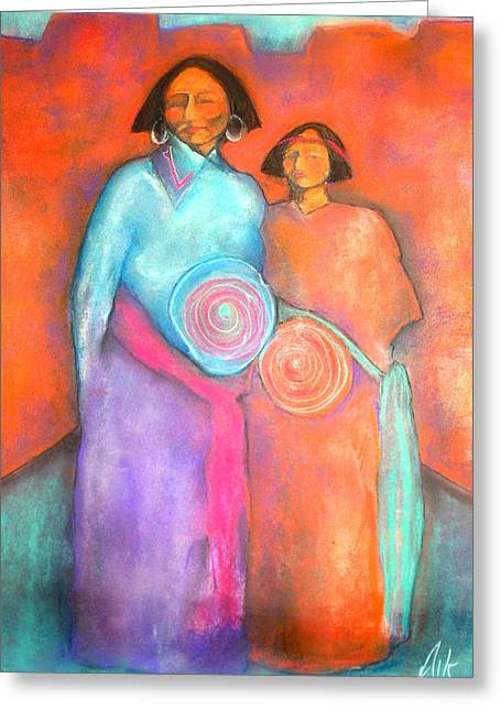 Native American Theme Greeting Cards - Birthing the Future Greeting Card by Johanna Elik