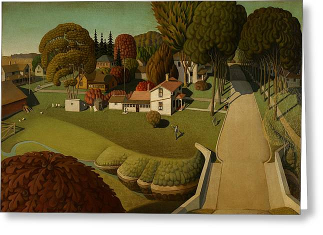 Grant Wood Greeting Cards - Birthplace of Herbert Hoover Greeting Card by Celestial Images