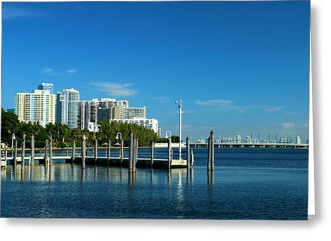 Brickell Greeting Cards - Biscayne Bay View Greeting Card by Christiane Schulze Art And Photography