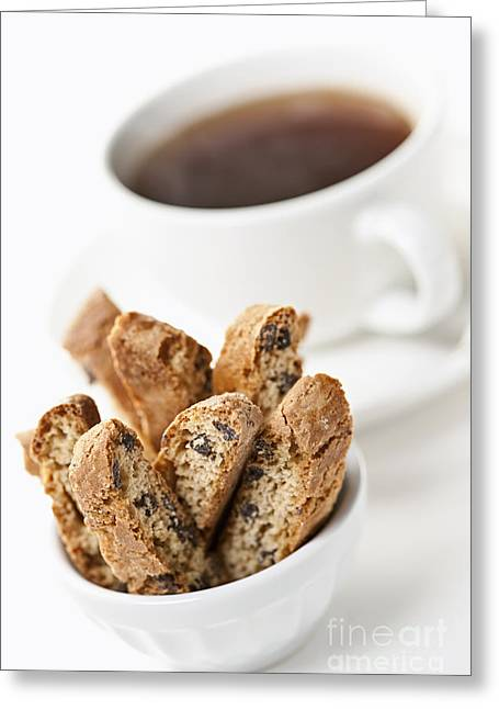 Biscotti Greeting Cards - Biscotti and Coffee Greeting Card by Elena Elisseeva