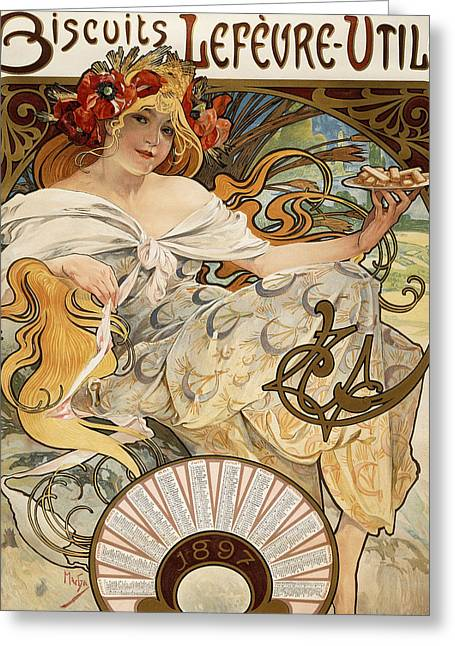 Billowing Greeting Cards - Biscuits Lefevre-Utile Greeting Card by Alphonse Marie Mucha