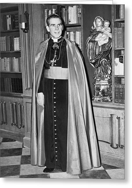 Bishop Fulton J. Sheen Greeting Card by Fred Palumbo
