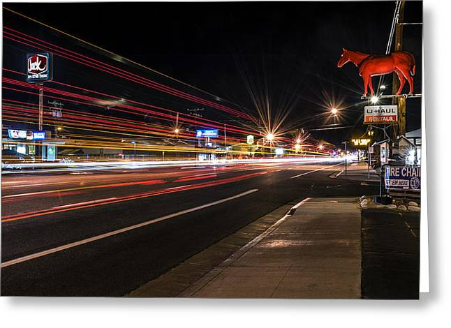 Night Photography Greeting Cards - Bishop Light Trails Greeting Card by Cat Connor
