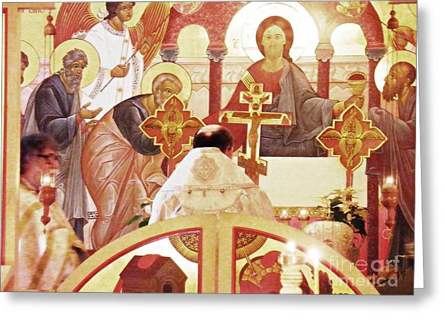 Bishop Michael At The Altar Greeting Card by Sarah Loft