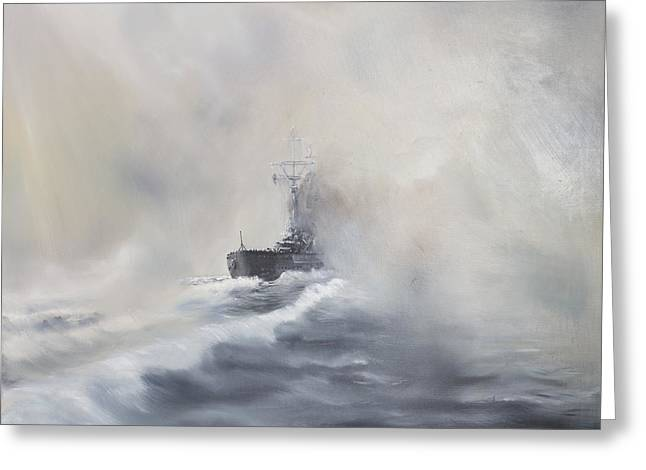 Foggy Ocean Paintings Greeting Cards - Bismarck evades her pursuers Greeting Card by Vincent Alexander Booth