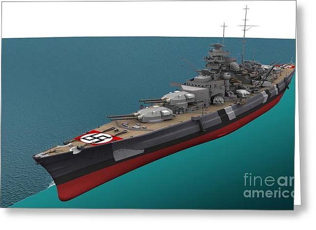 Anti Nazism Greeting Cards - Bismarck, German World War Ii Battleship Greeting Card by Jose Antonio Pe??as