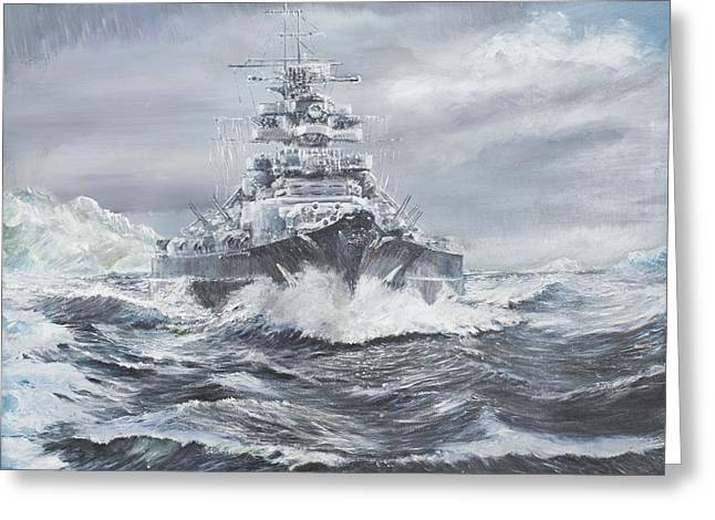 Oil Slick Greeting Cards - Bismarck off Greenland coast  Greeting Card by Vincent Alexander Booth