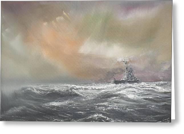 Ark Greeting Cards - Bismarck signals Prinz Eugen  Greeting Card by Vincent Alexander Booth