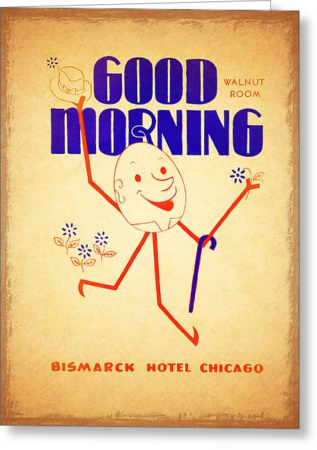 Breakfast Photographs Greeting Cards - Bismark Hotel Chicago 1945 Greeting Card by Mark Rogan
