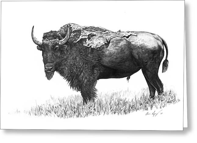 Bad Drawing Drawings Greeting Cards - Bison Greeting Card by Aaron Spong