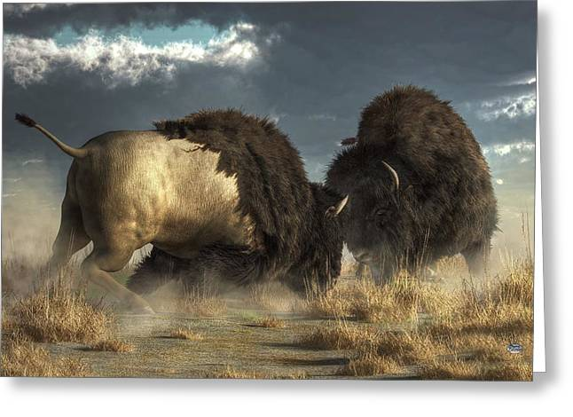 Arguing Greeting Cards - Bison Fight Greeting Card by Daniel Eskridge
