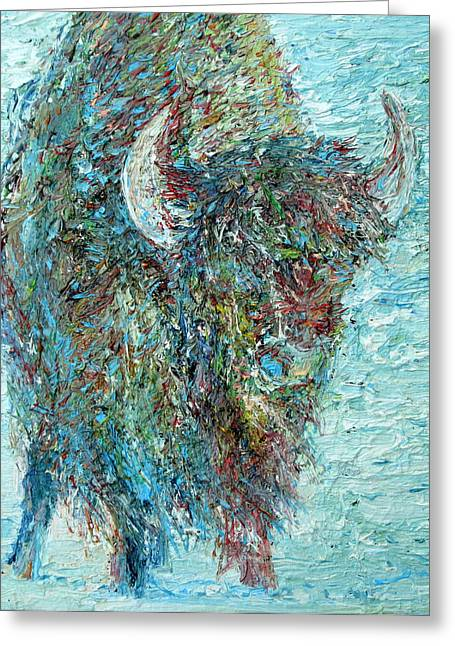 Winter Prints Paintings Greeting Cards - Bison In The Snow Greeting Card by Fabrizio Cassetta