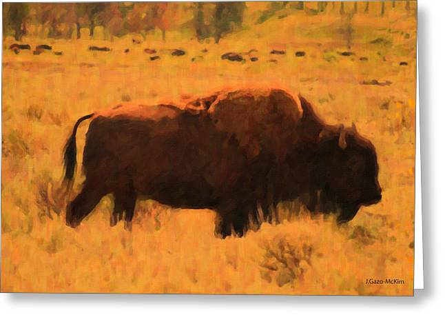 Bison Greeting Card by Jo-Anne Gazo-McKim