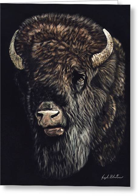 Bison Mixed Media Greeting Cards - Bison Greeting Card by Joseph Robertson
