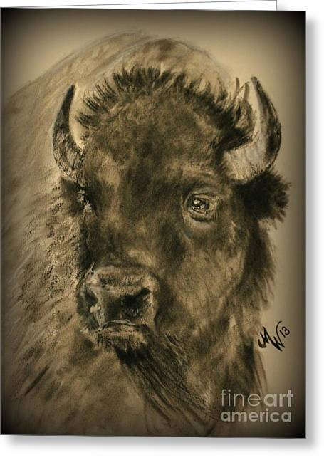 Football Pastels Greeting Cards - Bison  Greeting Card by Michelle Wolff