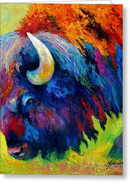 Bison Portrait II Greeting Card by Marion Rose