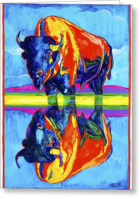 Bison Reflections Greeting Card by Derrick Higgins