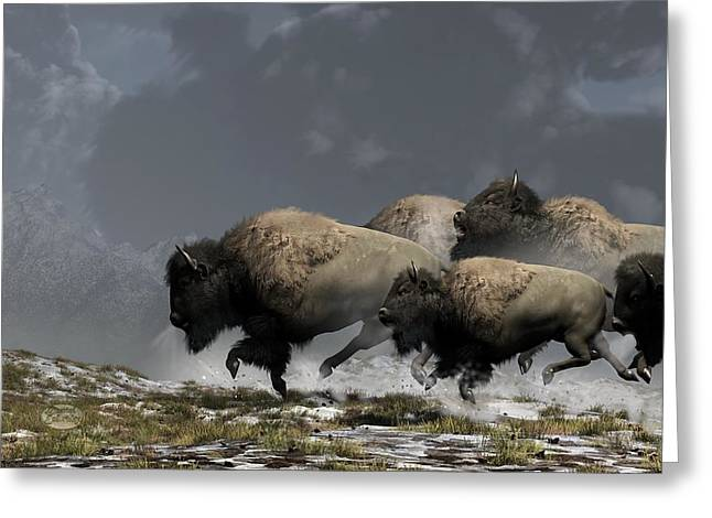 Bison Stampede Greeting Card by Daniel Eskridge