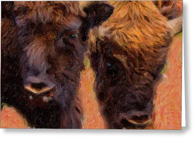 Vertebrate Mixed Media Greeting Cards - Bison Greeting Card by Toppart Sweden