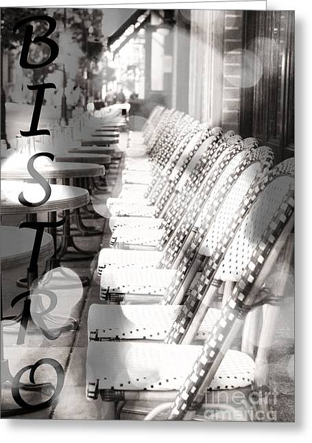 Paris In Lights Greeting Cards - French Bistro black and white photography Greeting Card by ArtyZen Studios - ArtyZen Home