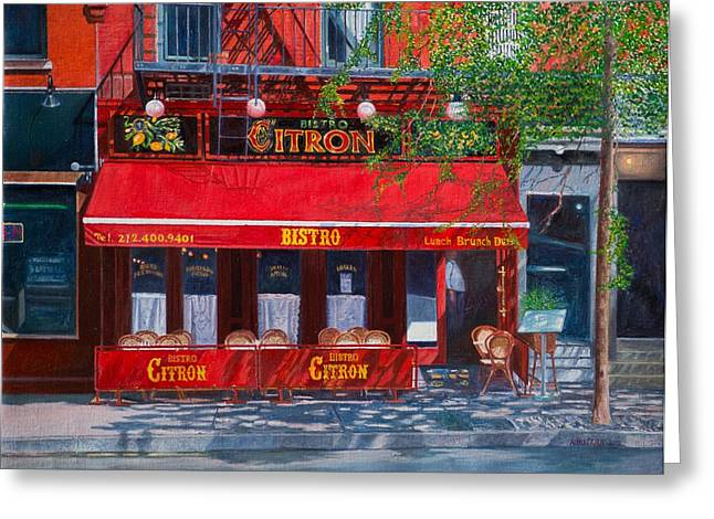 Bistro Paintings Greeting Cards - Bistro Citron New York City Greeting Card by Anthony Butera