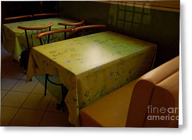 Bistro In Provence Greeting Card by Deborah Gray Mitchell