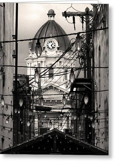Tupelo Greeting Cards - Bistro Lights Greeting Card by Rose  Fleming