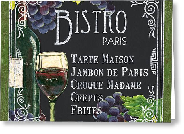 Wine-bottle Greeting Cards - Bistro Paris Greeting Card by Debbie DeWitt