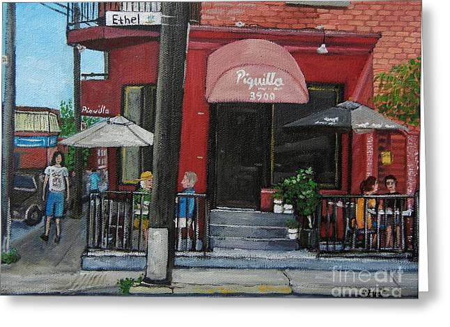 Montreal Streets Paintings Greeting Cards - Bistro Piquillo in Verdun Greeting Card by Reb Frost