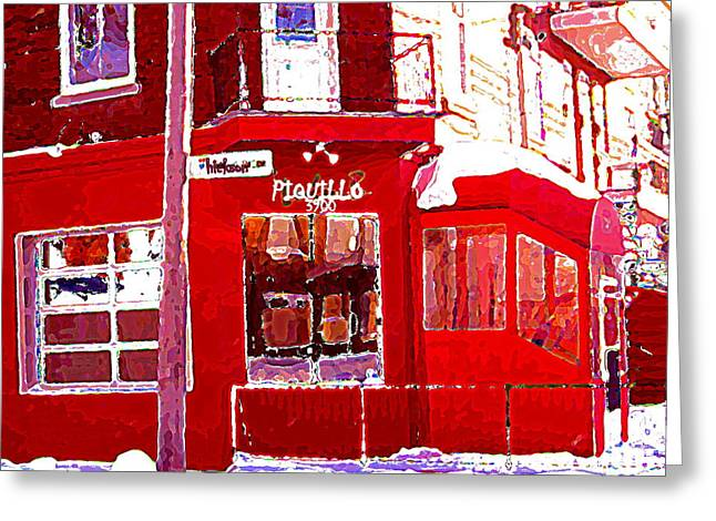 Verdun Restaurants Greeting Cards - Bistro Piquillo Restaurant Cold Day In Verdun Winter Scene Urban Eateries Montreal Art C Spandau Greeting Card by Carole Spandau