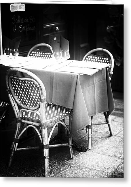 Cafe City Lights Greeting Cards - Bistro Table Greeting Card by John Rizzuto