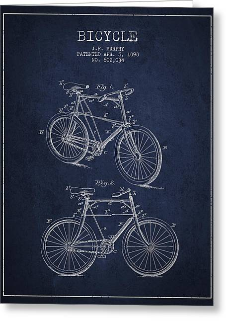 Pedal Greeting Cards - Bisycle Patent Drawing From 1898 Greeting Card by Aged Pixel