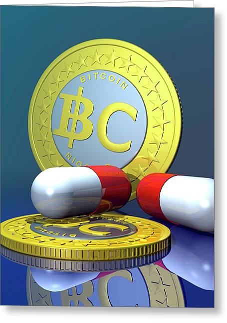 Bitcoins And Medicine Greeting Card by Victor Habbick Visions