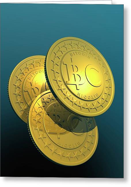 Bitcoins Greeting Card by Victor Habbick Visions