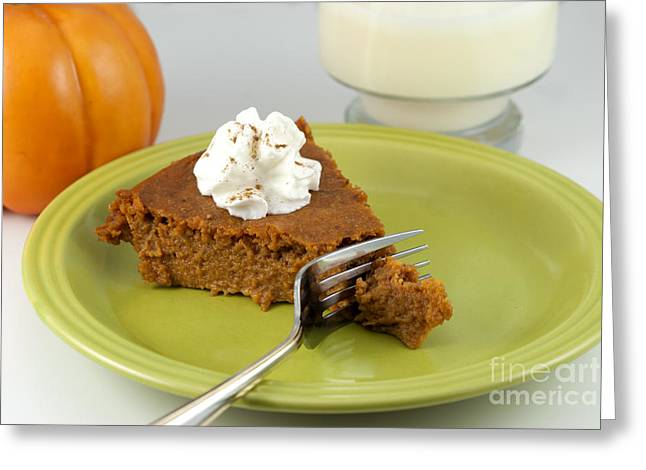 Baked Greeting Cards - Bite of Pumpkin Pie Greeting Card by Juli Scalzi