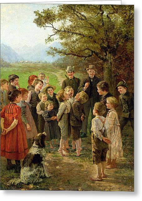 Game Greeting Cards - Biting The Biscuit Oil On Canvas Greeting Card by Theodor Kleehaas