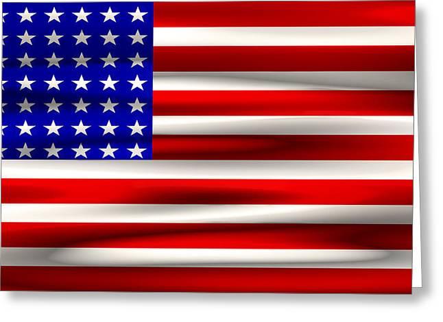U S Flag Digital Art Greeting Cards - BITS and BYTES U. S. FLAG Greeting Card by Daniel Hagerman