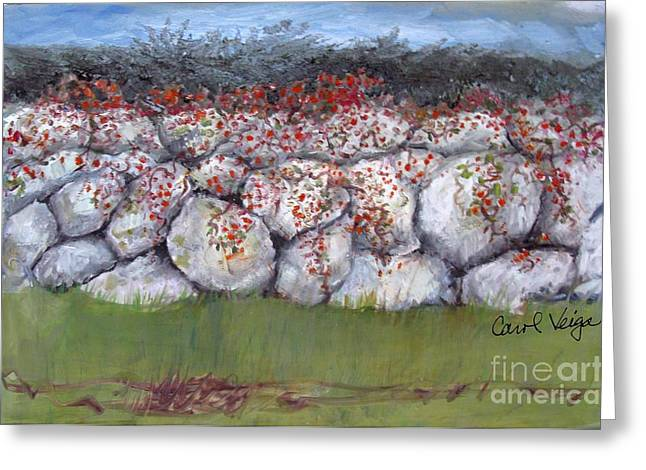 Bittersweet Paintings Greeting Cards - Bittersweet on a Stone Wall Greeting Card by Carol Veiga