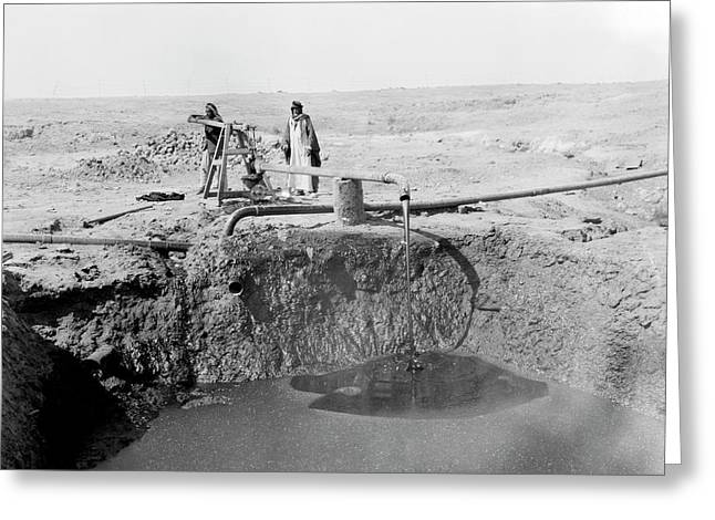 Bitumen Well In Iraq Greeting Card by Library Of Congress