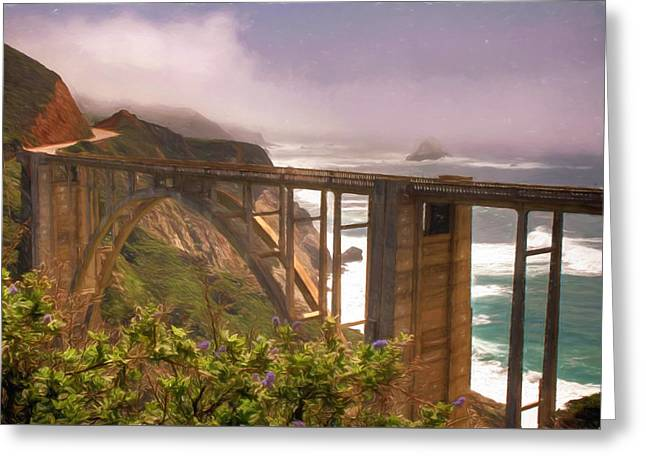 Bixby Bridge Greeting Cards - Bixby Bridge at Big Sur Greeting Card by Donna Kennedy
