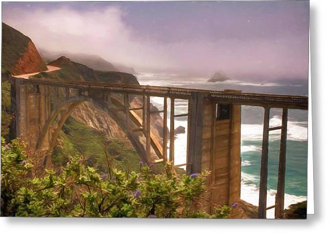 Big Sur Greeting Cards - Bixby Bridge at Big Sur Greeting Card by Donna Kennedy