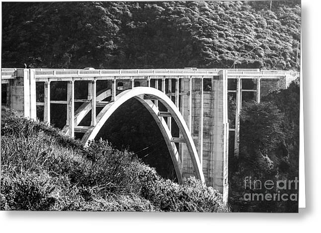 Bixby Bridge Greeting Cards - Bixby Bridge BW Greeting Card by Suzanne Luft