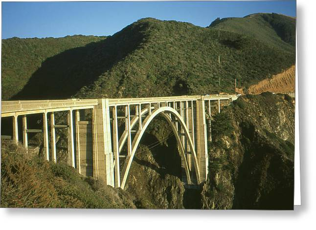 Bridge On Highway One Greeting Cards - Bixby Bridge California - Highway Number One - Color Photo Greeting Card by Peter Fine Art Gallery  - Paintings Photos Digital Art